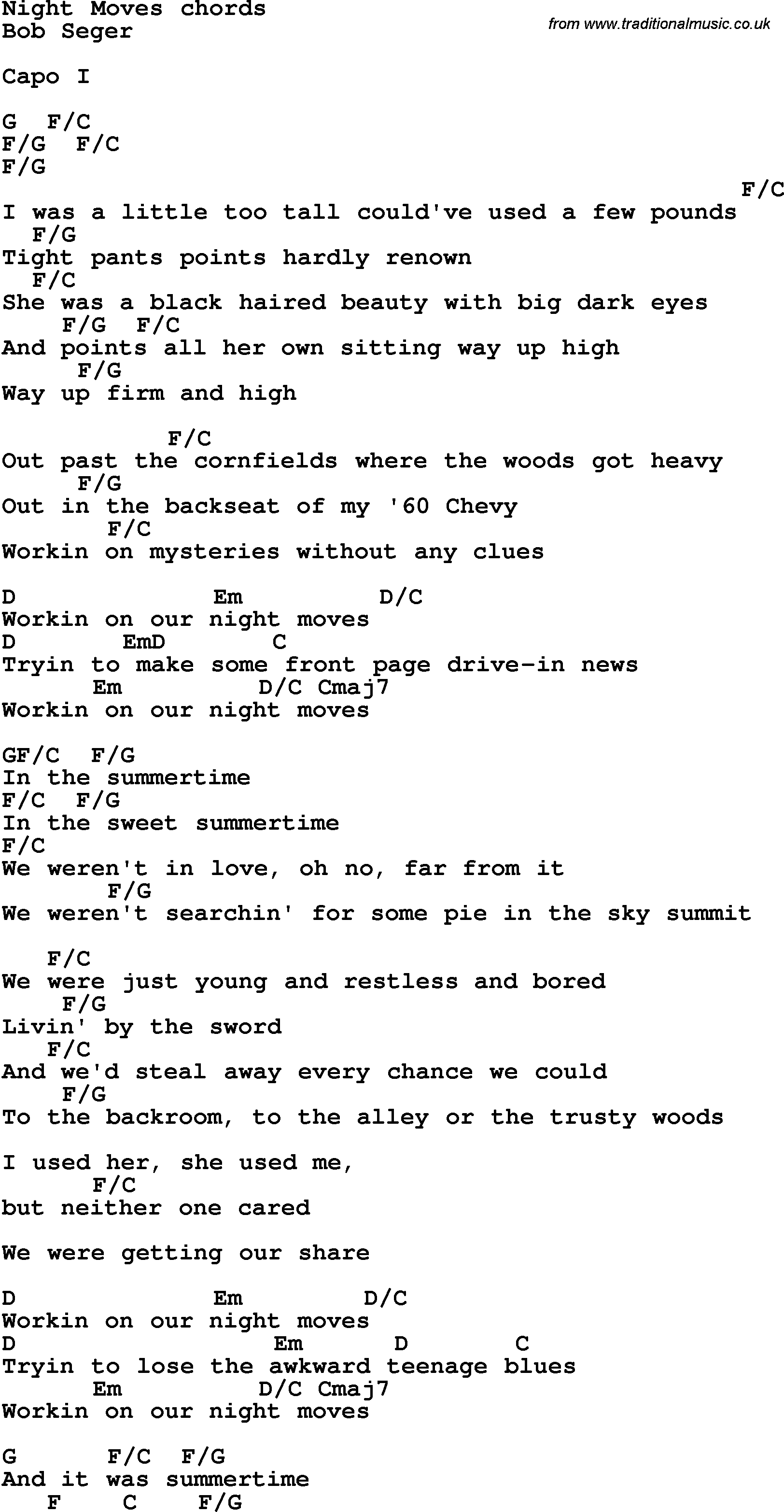 Night Moves Chords 2015confession