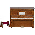 Dollhouse Miniature Walnut Upright Piano with Bench, Brown, Craft Supplies, Doll Making Supplies