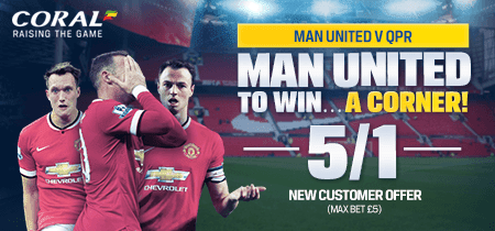 Man Utd v QPR: Crazy Price 5/1 Man Utd To Win A Corner
