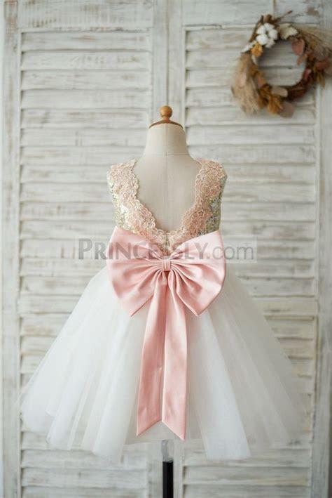 Gold Sequin Ivory Tulle V Back Wedding Flower Girl Dress
