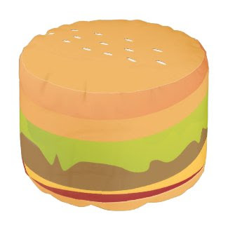 Fun Novelty Cheese Burger With Lettuce Round Pouf