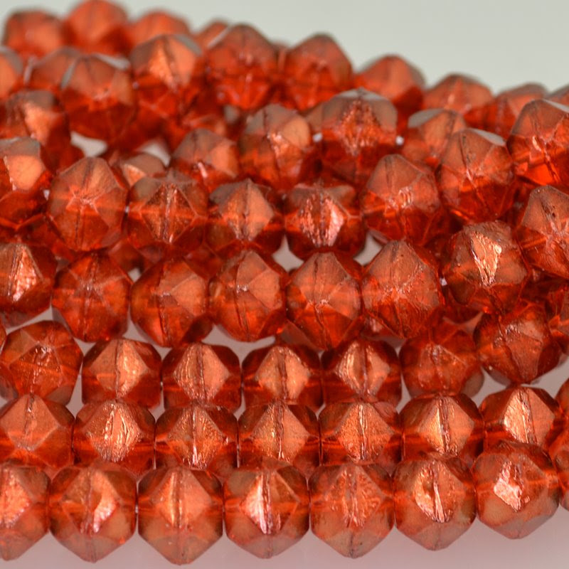 s42240 Glass Beads - 10 mm Antique English Cut - Flame Gold Lustre (25)