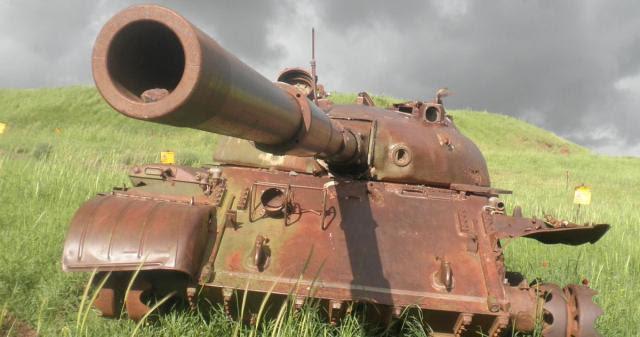 עמק הבכא. טנק סורי שהשתתף בקרבות מלחמת יום כיפור ונפגע