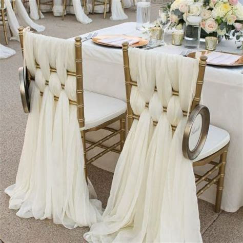 2017 Ivory Chiffon Chair Sashes Wedding Party Deocrations