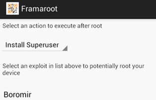 select install Superuser in Framaroot to root Xolo Q3000