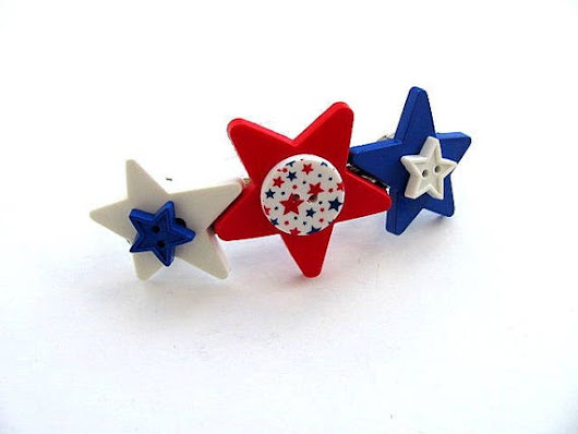 Button Barrette Red White Blue Stars FREE US Shipping
