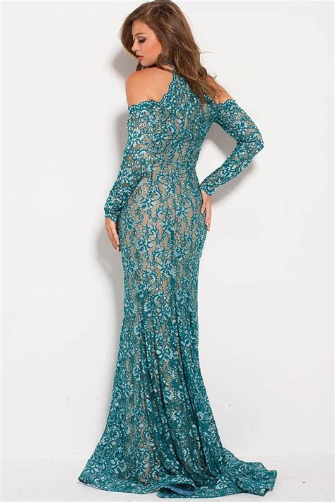 Jovani 58376 Teal long fitted embellished lace long sleeve