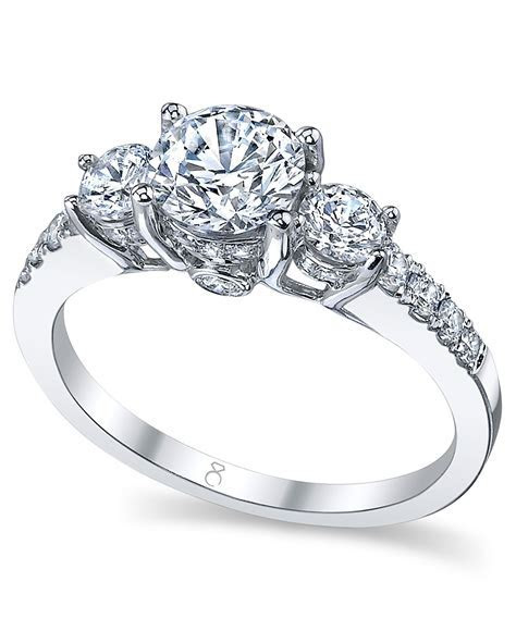 My Diamond Story Ring, 18k White Gold Certified 3 Stone