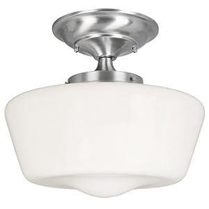 World Imports Lighting 9007-37 Luray 1-Light Semi-flush Light Fixture, Satin Nickel
