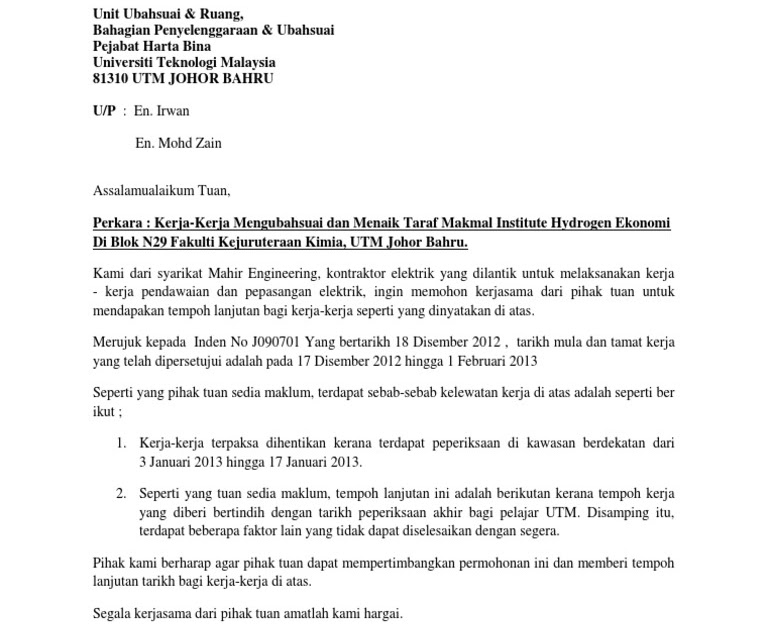 Surat Rasmi Permohonan Sambung Kontrak - Surat KK