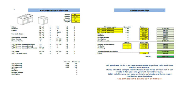 Kitchen cabinets cut list and estimate sheet