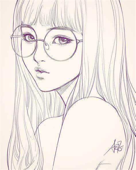 sketch  girl  glasses  bad backache