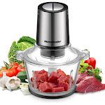 Homeleader Electric Food Chopper, 8-Cup Food Processor, 2L BPA-Free Glass Bowl Blender Grinder, Fast & Slow 2 Speeds
