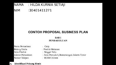 Contoh Cover Proposal Bisnis Plan