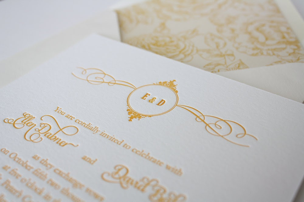Letterpress Wedding Invitation - Margaret - Elegant Monogram Motif Yellow Invitation