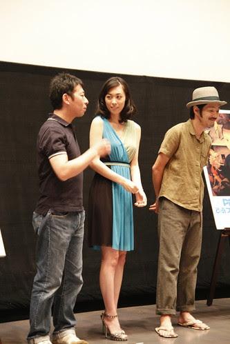 Director Takuji Suzuki speaking to Kazue Fukiishi. Gegege No Nyobo world premiere at the Pia Film Festival