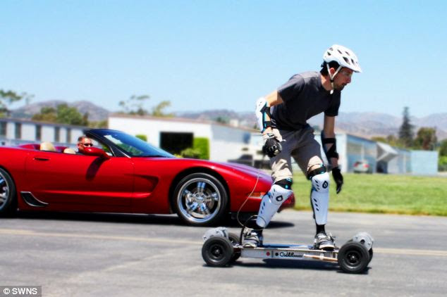 Electric skateboard takes on 200mph Corvette supercar and wins over a 75ft drag race
