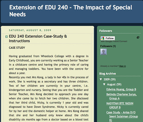 Extension of EDU 240 - The Impact of Special Needs: EDU 240 Extension Case-Study & Instructions