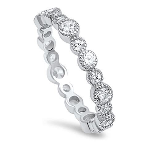 Sterling Silver .925 CZ Vintage Eternity Antique Wedding