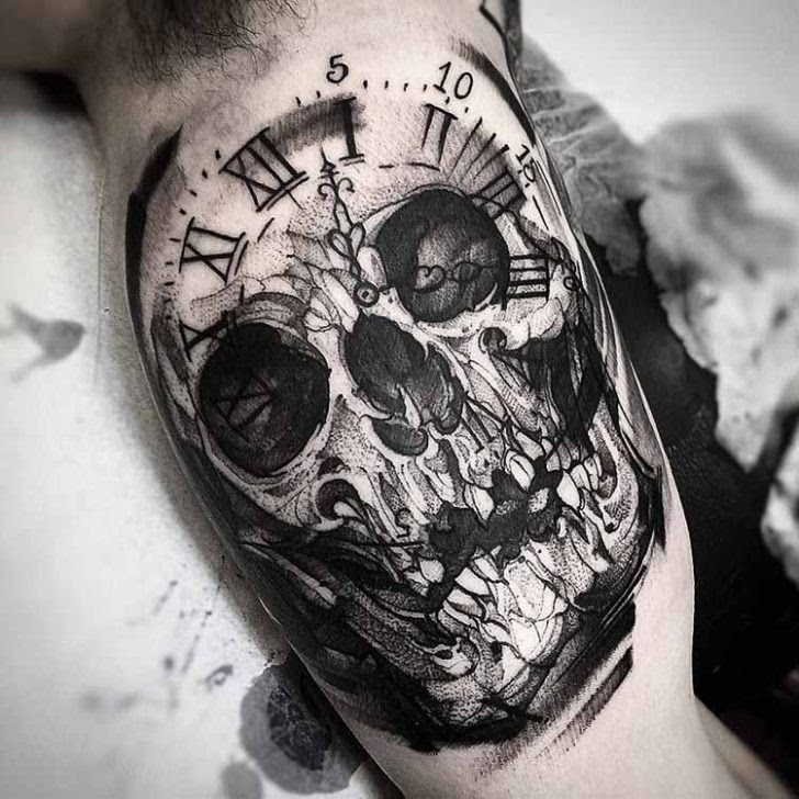 Clock Skull Tattoo Best Tattoo Ideas Gallery