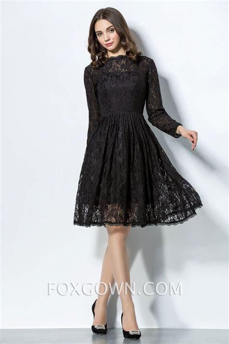 Long Sleeve Knee Length Black Dress ZAR DR DR Wedding