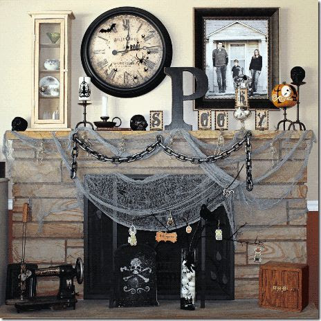50 Awesome Fireplace Halloween Decorating Ideas 50 Awesome Halloween Decorating Ideas White Wall Chain Nets – Interior Design and Decorating Ideas | getitcut.com