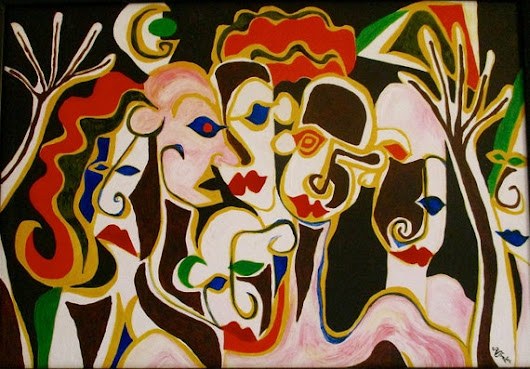 Modern art oil painting in  ' The Gossips '  by