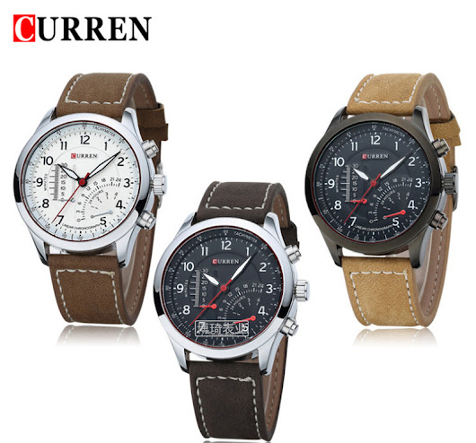 2015 hot sale Genuine leather strap CURREN Man watch Quartz Watches factory price in stock