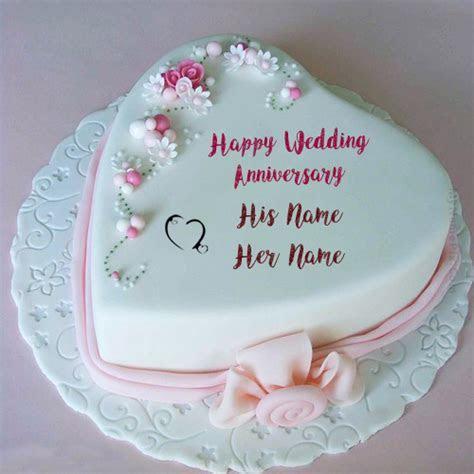 Couple Name Wedding Anniversary Heart Cake