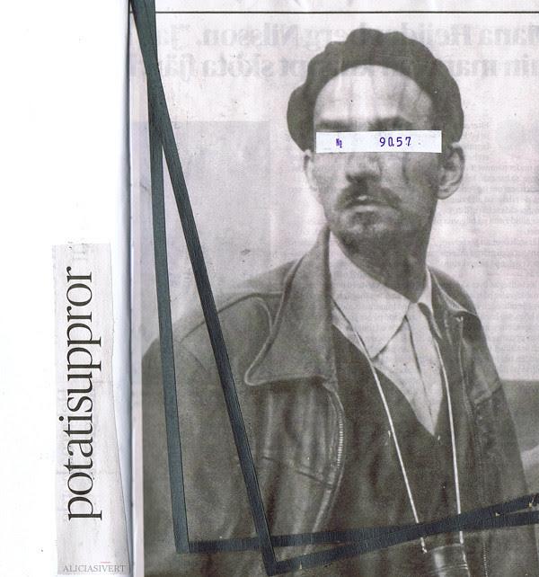 aliciasivert, alicia sivertsson, Ingmar Bergman, collage, dagens nyheter, dn, stripes, black and white, kollage, potatisuppror, porträtt, kvitto, ränder, man, svartvitt