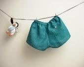 Teal linen children shorts linen / boys linen shorts / pants / size 12-18 months - robedellarobi