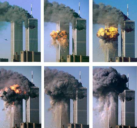 Flight 175 Hits the South Tower of the WTC at 9:03, and at 10:05 A.M. South Tower Collapses