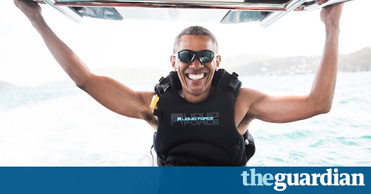 Barack Obama shows off kitesurfing skills to Richard Branson – video report | US news | The Guardian