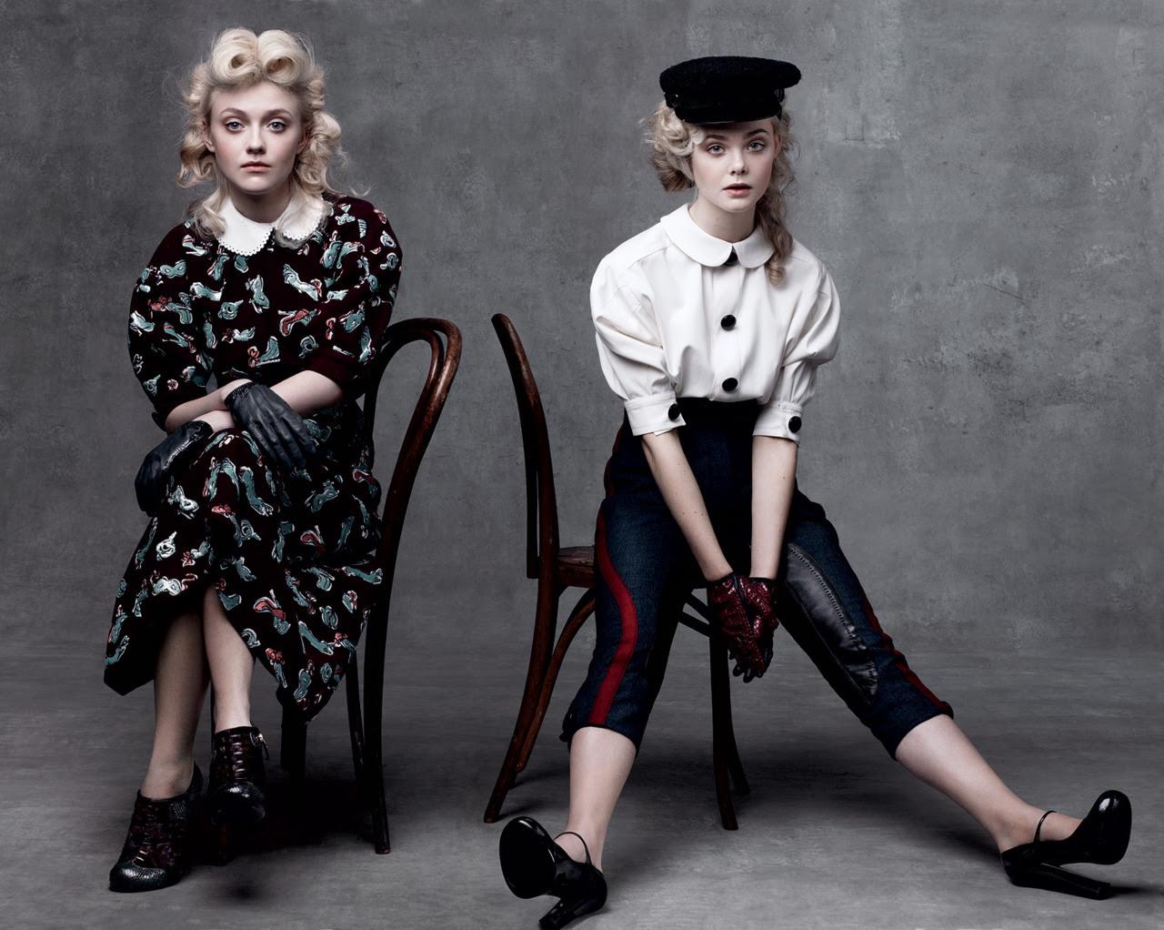Dakota dan Elle di Vogue Agustus 2011