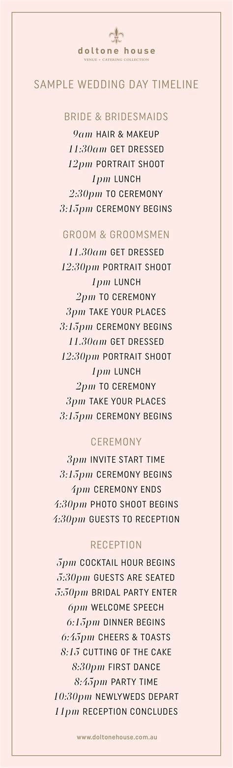 A Sample Wedding Day Timeline   Doltone House Venue & Catering