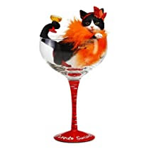 Hiccup by H2Z 9-1/4-Inch Tuxedo Sunrise Cocktail Glass with Tall B and W Tuxedo Cat