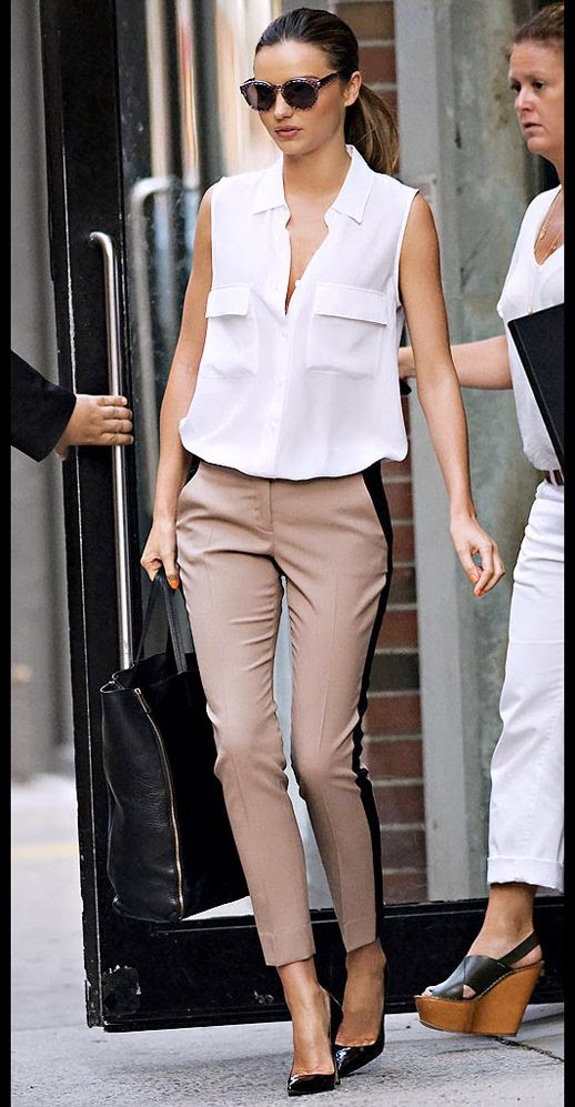 LE FASHION BLOG MIRANDA KERR SLEEVELESS WHITE BUTTON DOWN SHIRT TANK TOP SIDE STRIPE ALC TAN AND BLACK PANTS PUMPS CELINE LEATHER TOTE BAG STELLA MCCARTNEY PRINT ROUND SUNGLASSES NEW YORK CITY EQUIPMENT FRIENDS AND FAMILY SALE 20% OFF DISCOUNT 1 photo LE-FASHION-BLOG-MIRANDA-KERR-WHITE-TANK-TOP-SIDE-STRIPE-PANTS-EQUIPMENT-FRIENDS-AND-FAMILY-SALE-1.jpg