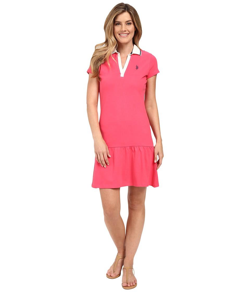 U.S. POLO ASSN. - Drop Waist Zip Close Polo Dress (Rouge Red) Women's Dress