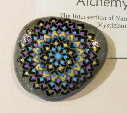 Hand Painted Alchemy Stone with Black Violet Blue by AlchemyStones