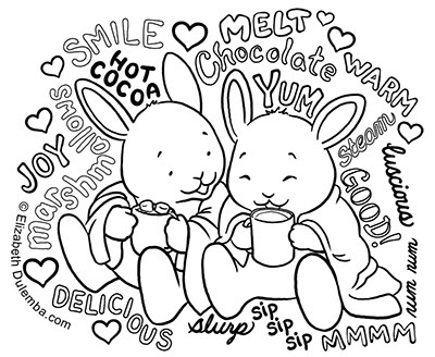 dulemba: Coloring Page Tuesday - Snow Bunnies