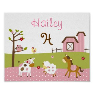 Abby's Farm Animal Nursery Wall Art Name Print print