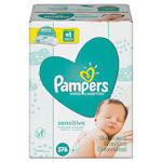Sensitive Baby Wipes, White, Cotton, Unscented, 64/Pack, 9 Pack/Carton