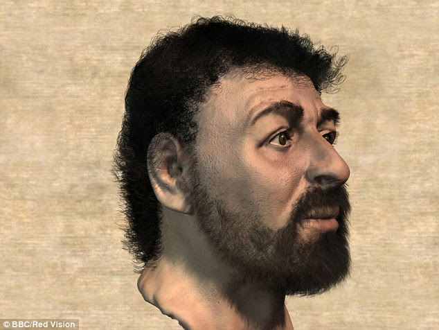 Dr Neave, formerly from the University of Manchester, used techniques typically used to solve crimes, to create the portrait as well as fragments of information, such as a Biblical account saying Jesus closely resembled his disciples. A side view of 'Jesus' is shown