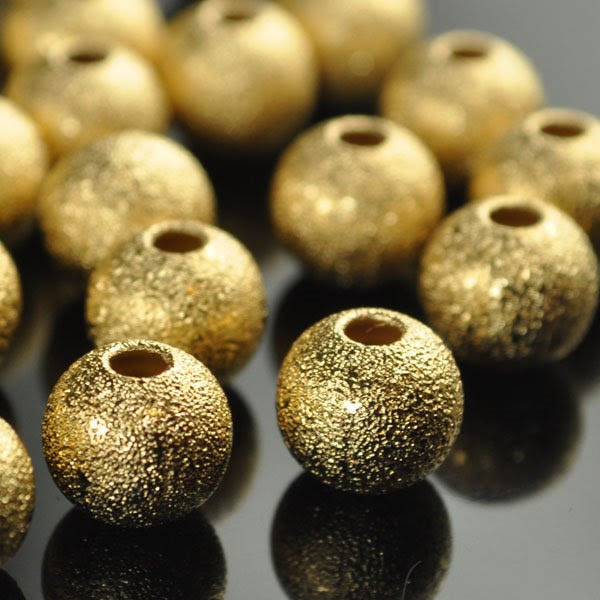 28836007 Metal Beads - 8 mm Stardust Round - Bright Gold (50)