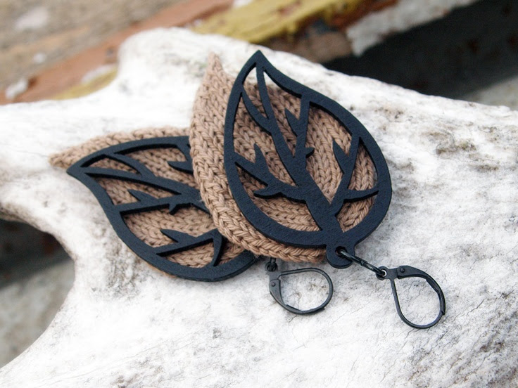 Knitted Earrings, knit leaf jewelry, beige tan knit and black wooden leaves. $29.00, via Etsy.