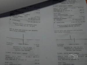 Polícia possui vários comprovantes dos depósitos feitos pelo empresário na conta da jovem em Goiás (Foto: Reprodução/ TV Anhanguera)