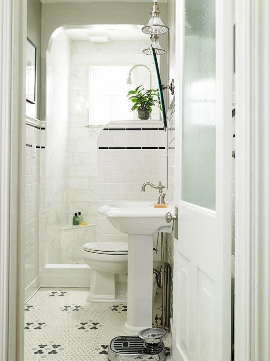 Black And White Penny Tile Bathrooms | zen interior decorating ideas