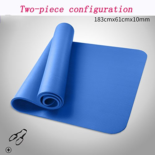 [GYD] Beginner Yoga Mat Non-slip Fitness Mat Increasingly 10MM Lengthened Thickening Widening Tasteless Yoga Mat Specials ( Color : Blue )