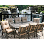 Patio Furniture 9pc Dining Set for 8 Person with Rectangle Table
