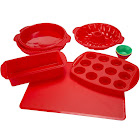 Classic Cuisine Silicone Bakeware Set, Red - 18 pieces